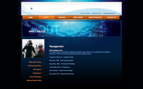 Screenshot of Team Page aqueossubsea.com - Management | Aqueos : Excellence in Subsea Solutions - captured Oct. 4, 2014