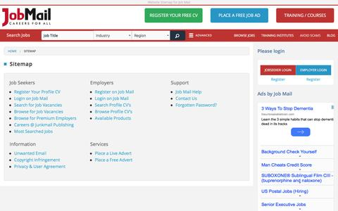 Screenshot of Site Map Page jobmail.co.za - Sitemap   Job Mail South Africa - captured Aug. 7, 2016