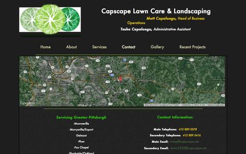 Screenshot of Contact Page capscape.net - Contact - captured Oct. 1, 2014
