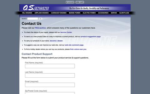 Screenshot of Support Page osengines.com - O.S. Engines - Contact Us - captured Oct. 16, 2018