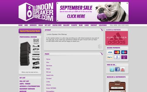 Screenshot of Site Map Page londonspeakerhire.com - London Speaker Hire - Site Map - captured Sept. 30, 2014