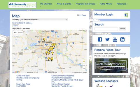Screenshot of Maps & Directions Page dcrchamber.com - Map - Dakota County Chamber of Commerce - captured Oct. 12, 2017