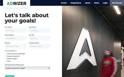 Screenshot of Contact Page adrizer.com - Contact - captured Feb. 14, 2019