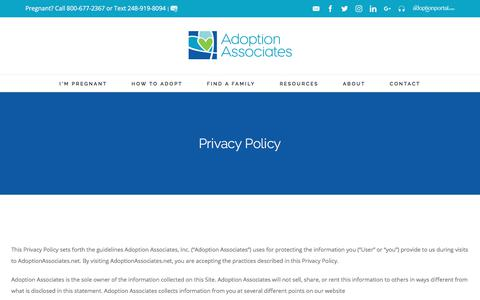 Screenshot of Privacy Page adoptionassociates.net - Privacy Policy - Michigan Adoption Agency serving Nationwide - captured Oct. 7, 2017