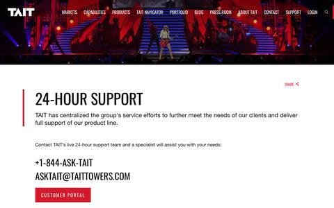 Screenshot of Support Page taittowers.com - Support – TAIT - captured June 11, 2017