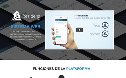 Screenshot of Home Page residenz.mx - RESIDENZ | Administracion de colonias - captured Nov. 9, 2017