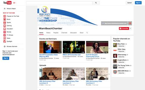 Screenshot of YouTube Page youtube.com - MiamiBeachChamber  - YouTube - captured Oct. 27, 2014