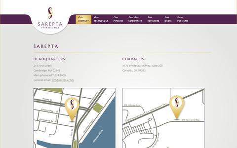 Screenshot of Locations Page sarepta.com - Locations | Sarepta Therapeutics - captured Oct. 4, 2014