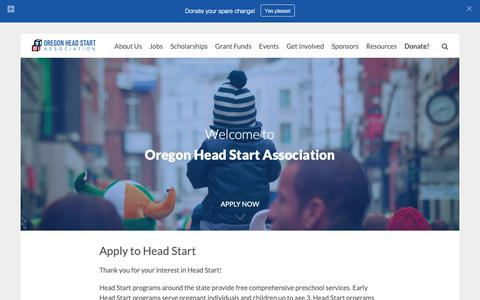 Screenshot of Home Page ohsa.net - Welcome to the Oregon Head Start Association - captured Oct. 18, 2018