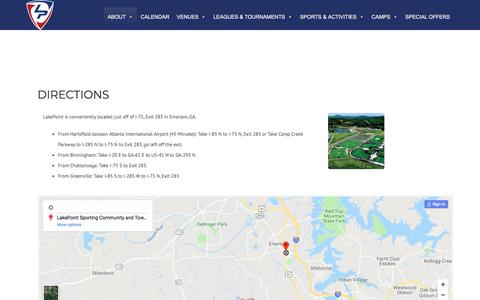 Screenshot of Maps & Directions Page lakepointsports.com - Directions • LakePoint Sports - captured July 15, 2018