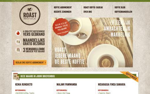 Screenshot of Home Page roast.nl - Vers gebrand, maandelijks drie smaken thuisbezorgd - Roast - captured Sept. 21, 2018
