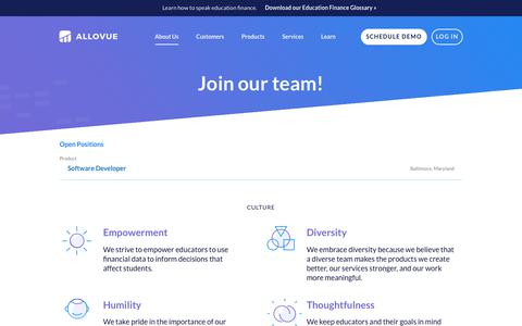 Screenshot of Jobs Page allovue.com - Careers / Allovue - captured July 13, 2018