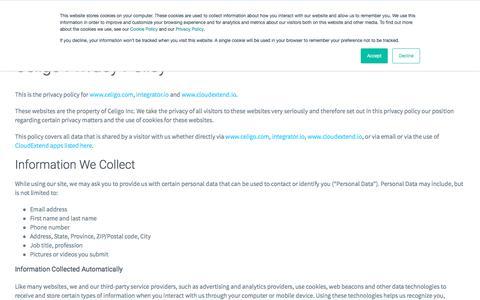 Screenshot of Privacy Page celigo.com - Internet Privacy Policy - Celigo - captured Sept. 28, 2019