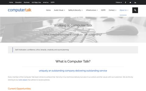 Screenshot of Jobs Page computertalk.co.uk - IT Support Technicians and Technical Consultants - Careers at Computer Talk - captured Sept. 28, 2018