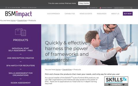 Screenshot of Products Page bsmimpact.com - Products - BSMimpact - captured Aug. 1, 2018