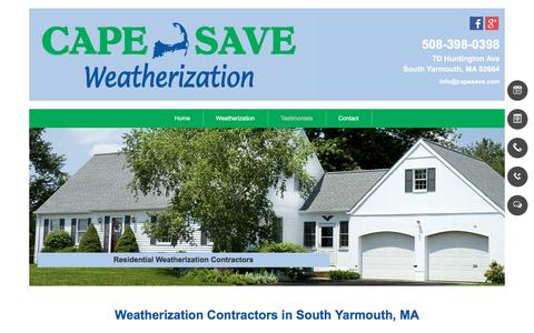 Screenshot of Testimonials Page capesave.com - Weatherization Contractors - South Yarmouth, MA - Cape Save - captured July 10, 2016