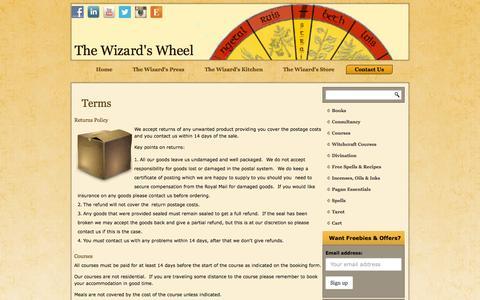 Screenshot of Terms Page wizardswheel.co.uk - Terms | The Wizard's WheelThe Wizard's Wheel - captured Oct. 1, 2014