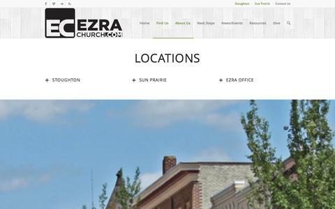 Screenshot of Locations Page ezrachurch.com - Locations   Ezra Church in Stoughton, WI - captured Dec. 14, 2015