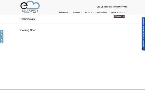 Screenshot of Testimonials Page elianceinc.com - Testimonials | E-liance Inc. - captured Sept. 26, 2014
