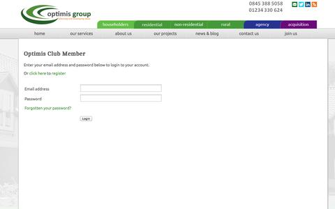 Screenshot of Login Page optimis-consulting.co.uk - Login - The Optimis Group   Town Planning   Housing Development - captured Nov. 3, 2014