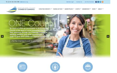 Screenshot of Home Page annearundelchamber.org - Anne Arundel County Chamber of Commerce | Annapolis, MD - captured Jan. 4, 2017