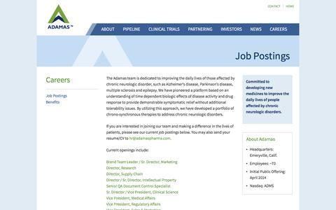 Screenshot of Jobs Page adamaspharma.com - Adamas Pharmaceuticals - Job Postings - captured Nov. 20, 2016