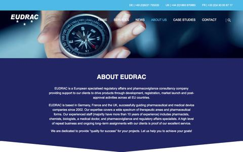 Screenshot of About Page eudrac.com - EUDRAC | About EUDRAC - captured July 15, 2018