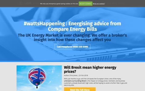 Screenshot of Blog compareenergybills.com - #wattsHappening, UK Energy Market blog by Chris Jones MD at Compare Energy Bills, West Midlands, UK, 0800 230 0086 - captured Nov. 5, 2018