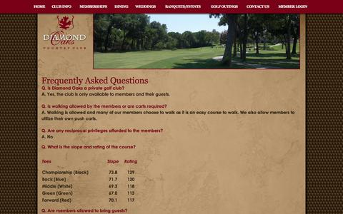 Screenshot of FAQ Page diamondoaksclub.com - Frequently Asked Questions - Diamond Oaks Club - captured Feb. 9, 2016