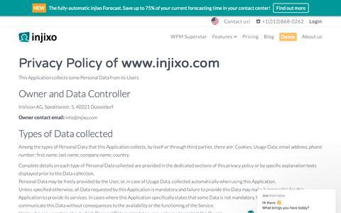 Screenshot of Privacy Page injixo.com - Jixo says… - captured May 18, 2019