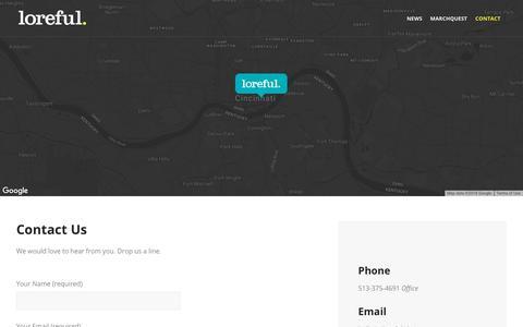 Screenshot of Contact Page loreful.com - Contact   Loreful   A Digital Storytelling Studio - captured July 23, 2018