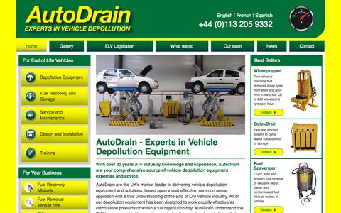 Screenshot of Home Page autodrain.net - AutoDrain - Experts in Vehicle Depollution Equipment - captured Sept. 14, 2015