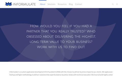 Screenshot of About Page informulate.com - About - Informulate - captured Oct. 15, 2017