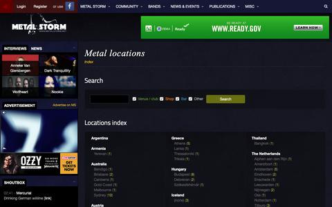Screenshot of Locations Page metalstorm.net - Metal locations - Metal Storm - captured Nov. 15, 2018