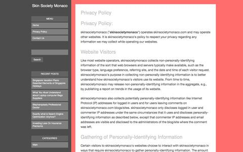 Screenshot of Privacy Page skinsocietymonaco.com - Privacy Policy - Skin Society Monaco - captured June 14, 2017