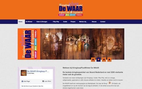Screenshot of Home Page dewaar.nl - De WAAR | Kringloopwinkel Emmen. Gezellig winkelen. - captured Oct. 16, 2018