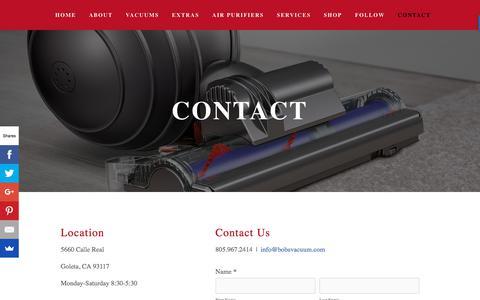Screenshot of Contact Page bobsvacuum.com - Contact — Bob's Vacuum - captured Aug. 3, 2018