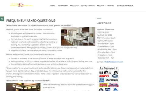 Screenshot of FAQ Page affordablemn.com - FAQs - Affordable Granite & Cabinetry - captured Oct. 7, 2017
