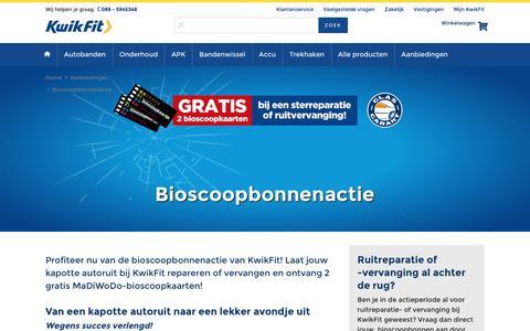 Screenshot of kwik-fit.nl - KwikFit bioscoopbonnenactie: bij Autoruitreparatie of -vervanging 2 Gratis Bioscoopbonnen! - captured April 14, 2016