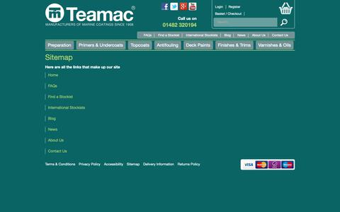 Screenshot of Site Map Page teamac.co.uk - Sitemap - captured Oct. 18, 2018
