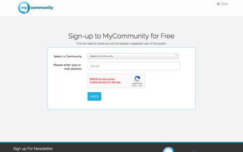 Screenshot of Trial Page aldar.com - MyCommunity - Signup - captured Sept. 21, 2018
