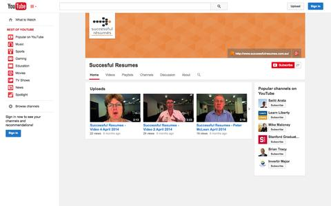 Screenshot of YouTube Page youtube.com - Succesful Resumes  - YouTube - captured Oct. 26, 2014