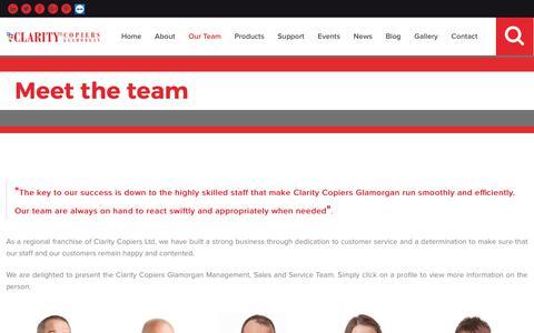 Screenshot of Team Page clarityglamorgan.co.uk - Meet The Clarity Copiers Glamorgan Team | Staff Profiles | Kenfig Hill Industrial Estate Margam Head office | Newport Sales Team | Sales West |             Sales East | Marketing - captured Sept. 28, 2018