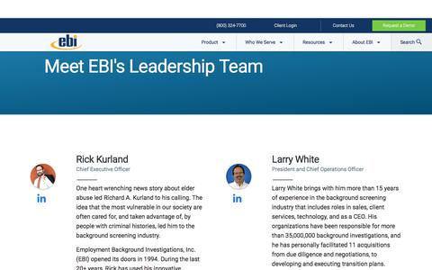 Screenshot of Team Page ebiinc.com - About EBI | Executive Team & Leadership - captured April 14, 2018