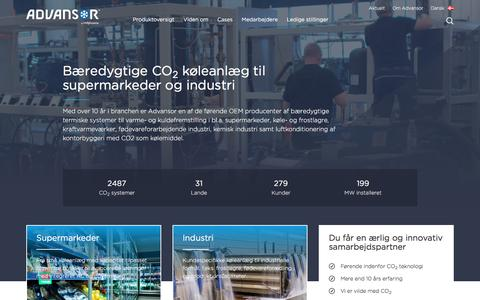 Screenshot of Home Page advansor.dk - Bæredygtig CO2 varme- og kulfremstilling - captured Nov. 20, 2016