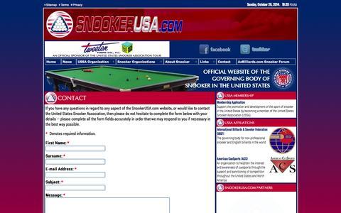Screenshot of Contact Page snookerusa.com - SnookerUSA.com - Contact - captured Oct. 27, 2014