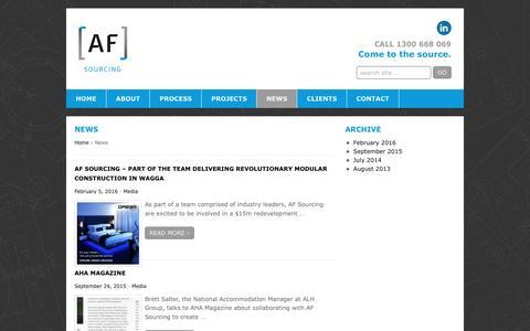 Screenshot of Press Page afsourcing.com.au - News | AF Sourcing - captured July 23, 2016