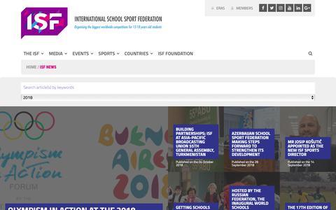 Screenshot of Press Page isfsports.org - ISF News | International School Sport Federation - captured Oct. 12, 2018