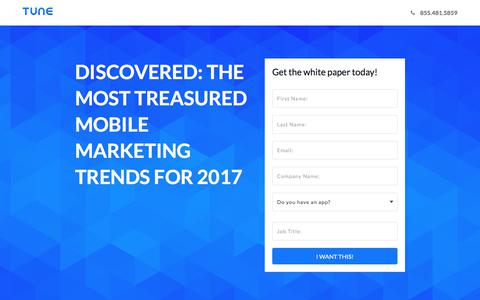 Screenshot of Landing Page tune.com - Discovered: The Most Treasured Mobile Marketing Trends for 2017 - captured Aug. 11, 2017