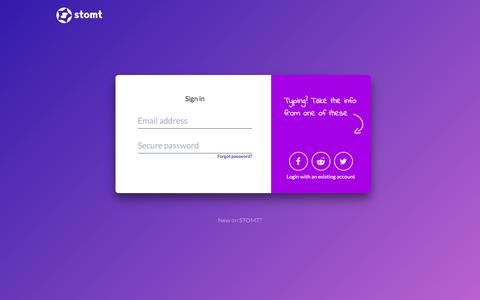 Screenshot of Login Page stomt.com - Sign in to STOMT - captured June 17, 2017